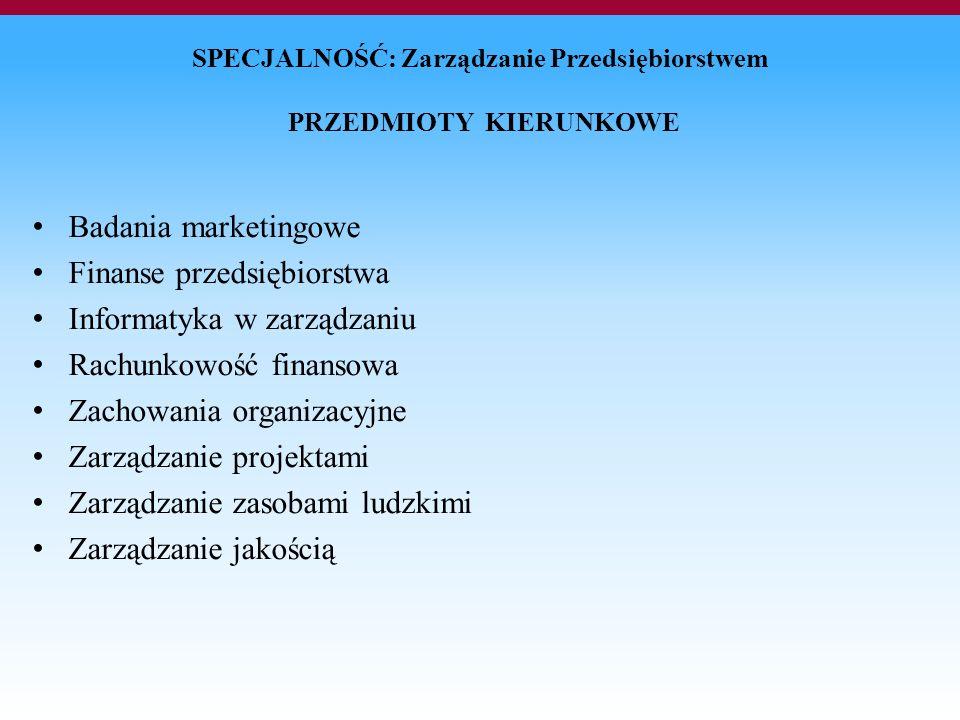 SPECJALNOŚĆ: Zarządzanie Przedsiębiorstwem PRZEDMIOTY KIERUNKOWE Badania marketingowe Finanse przedsiębiorstwa Informatyka w zarządzaniu Rachunkowość finansowa Zachowania organizacyjne Zarządzanie projektami Zarządzanie zasobami ludzkimi Zarządzanie jakością