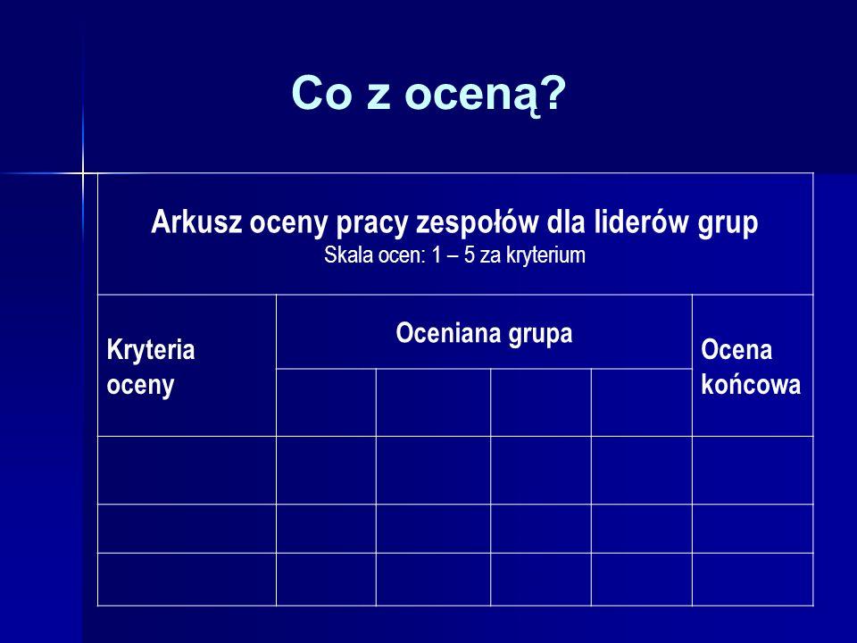 Co z oceną? Arkusz oceny pracy zespołów dla liderów grup Skala ocen: 1 – 5 za kryterium Kryteria oceny Oceniana grupa Ocena końcowa