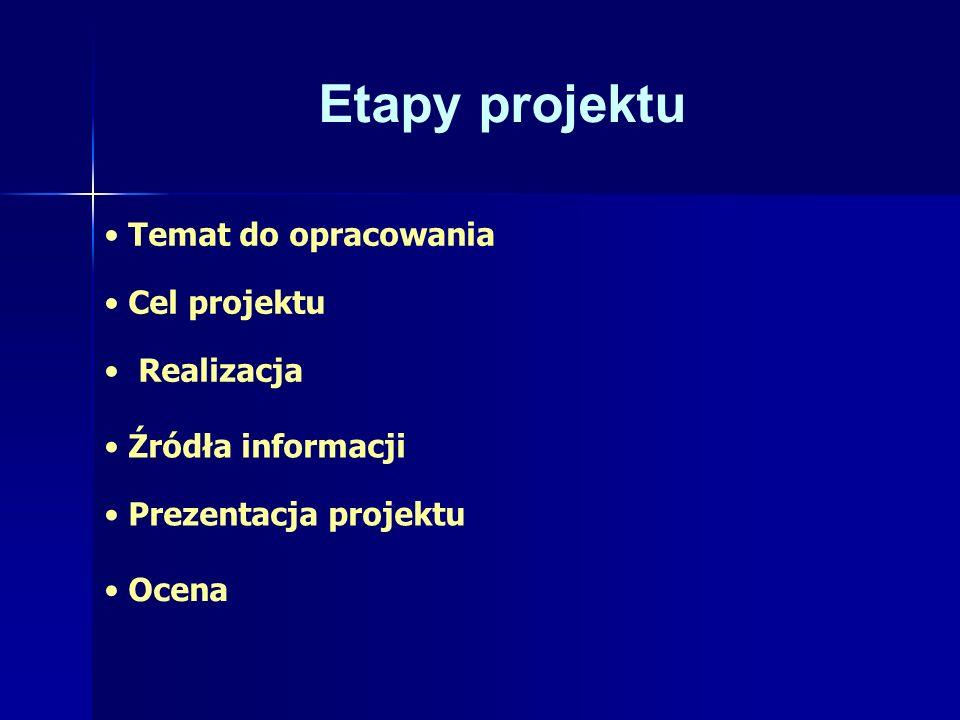 Etapy projektu Temat do opracowania Cel projektu Realizacja Źródła informacji Prezentacja projektu Ocena