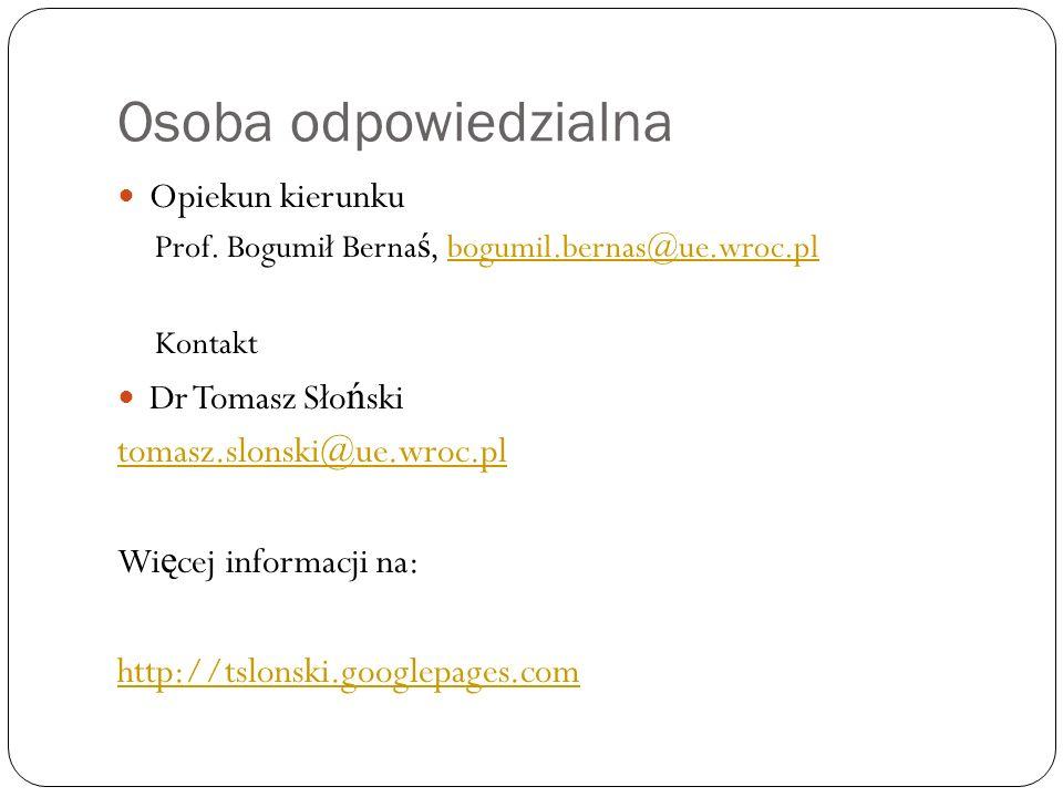 Osoba odpowiedzialna Opiekun kierunku Prof.