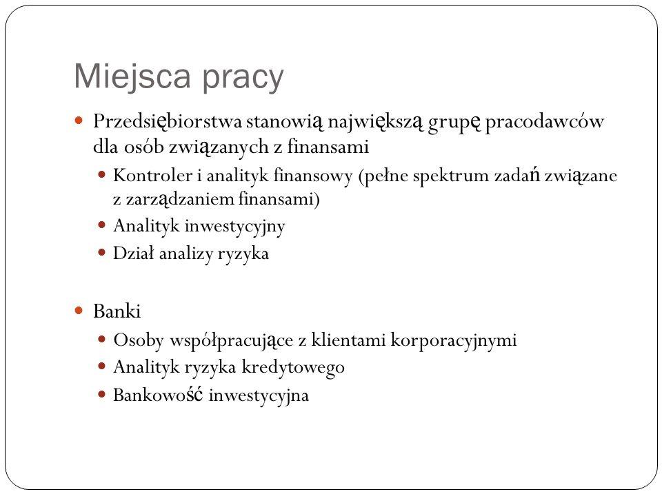 Miejsca pracy Przedsi ę biorstwa stanowi ą najwi ę ksz ą grup ę pracodawców dla osób zwi ą zanych z finansami Kontroler i analityk finansowy (pełne sp