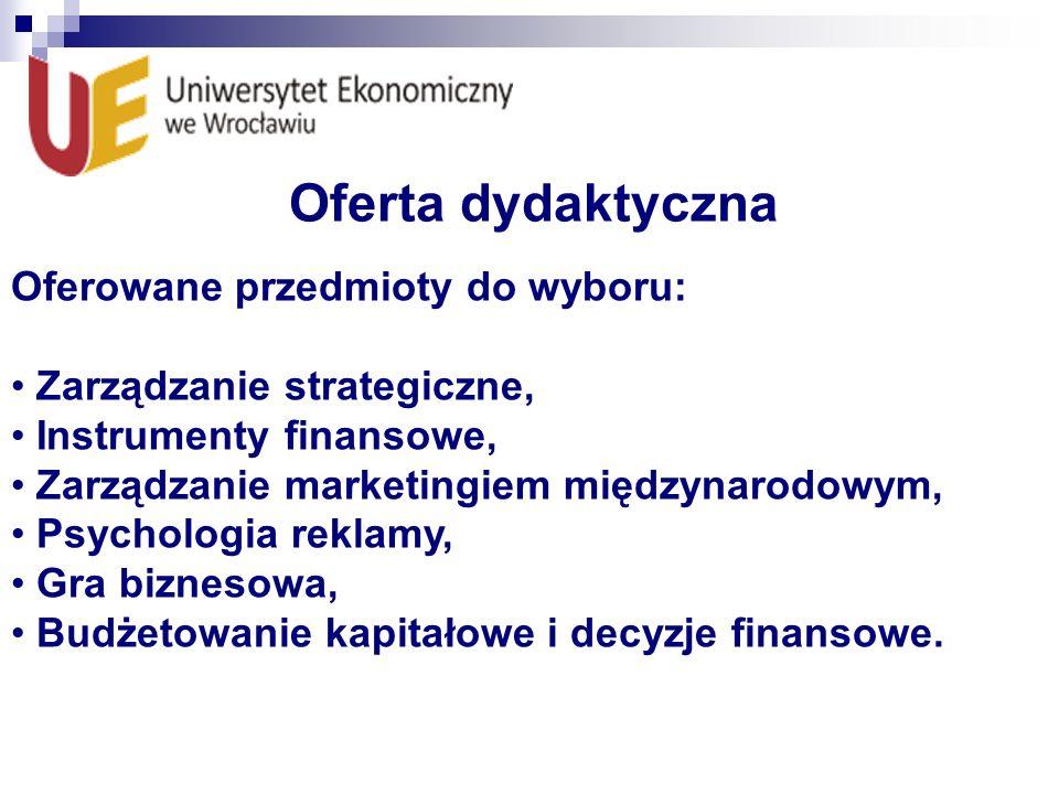 Oferta dydaktyczna Oferowane przedmioty do wyboru: Zarządzanie strategiczne, Instrumenty finansowe, Zarządzanie marketingiem międzynarodowym, Psycholo