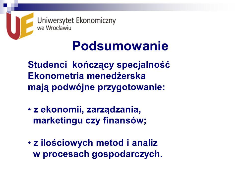 Podsumowanie Studenci kończący specjalność Ekonometria menedżerska mają podwójne przygotowanie: z ekonomii, zarządzania, marketingu czy finansów; z il