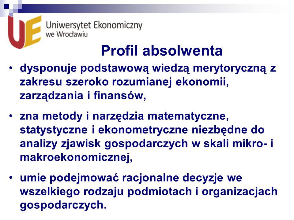 Profil absolwenta dysponuje podstawową wiedzą merytoryczną z zakresu szeroko rozumianej ekonomii, zarządzania i finansów, zna metody i narzędzia matem