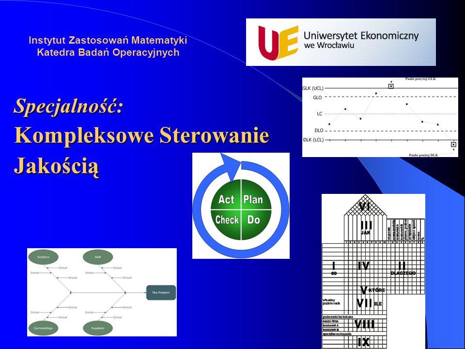 Specjalność: Kompleksowe Sterowanie Jakością Instytut Zastosowań Matematyki Katedra Badań Operacyjnych