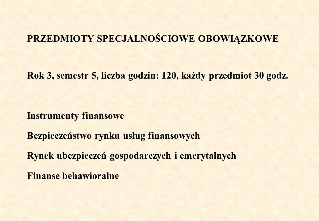 PRZEDMIOTY SPECJALNOŚCIOWE OBOWIĄZKOWE Rok 3, semestr 5, liczba godzin: 120, każdy przedmiot 30 godz. Instrumenty finansowe Bezpieczeństwo rynku usług