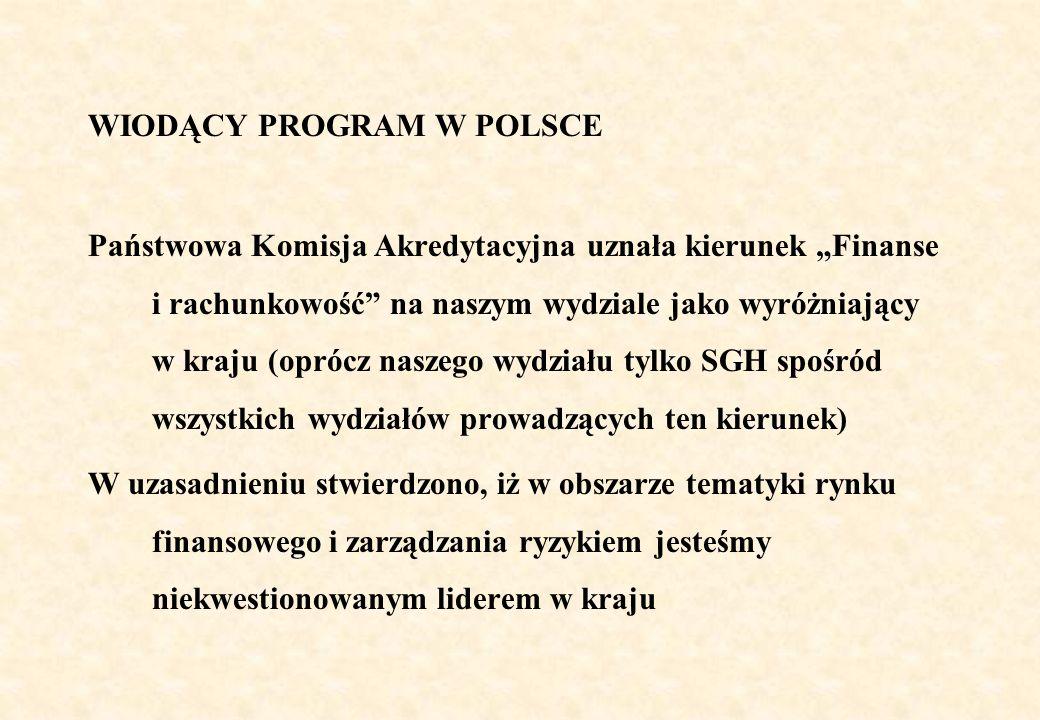 WIODĄCY PROGRAM W POLSCE Państwowa Komisja Akredytacyjna uznała kierunek Finanse i rachunkowość na naszym wydziale jako wyróżniający w kraju (oprócz n