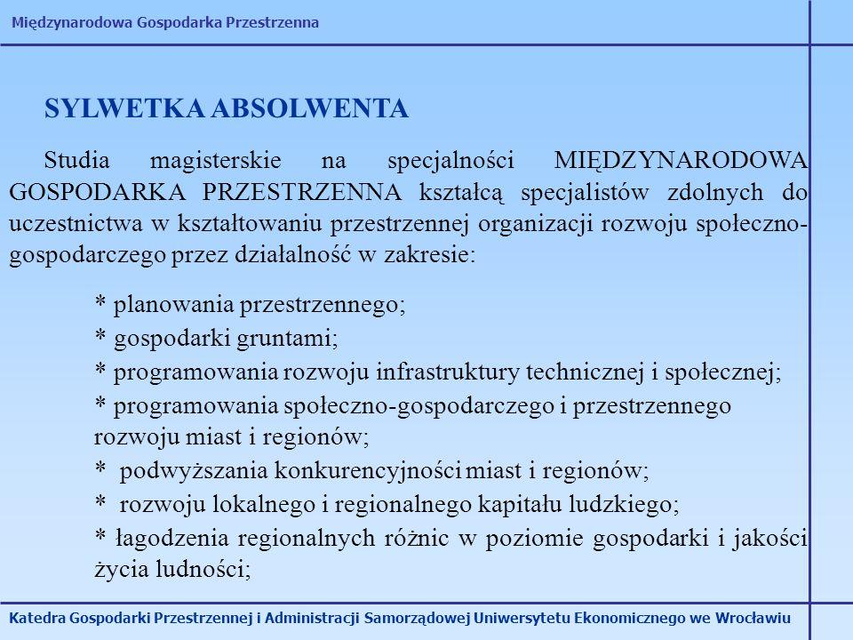 Międzynarodowa Gospodarka Przestrzenna Katedra Gospodarki Przestrzennej i Administracji Samorządowej Uniwersytetu Ekonomicznego we Wrocławiu Studia ma