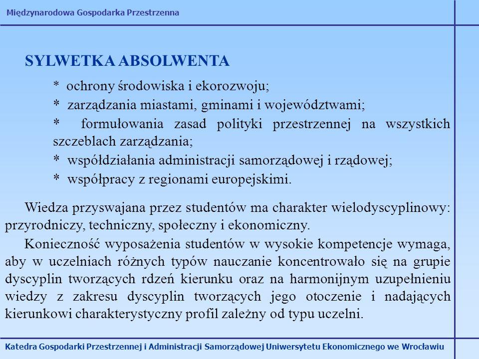 Międzynarodowa Gospodarka Przestrzenna Katedra Gospodarki Przestrzennej i Administracji Samorządowej Uniwersytetu Ekonomicznego we Wrocławiu SYLWETKA