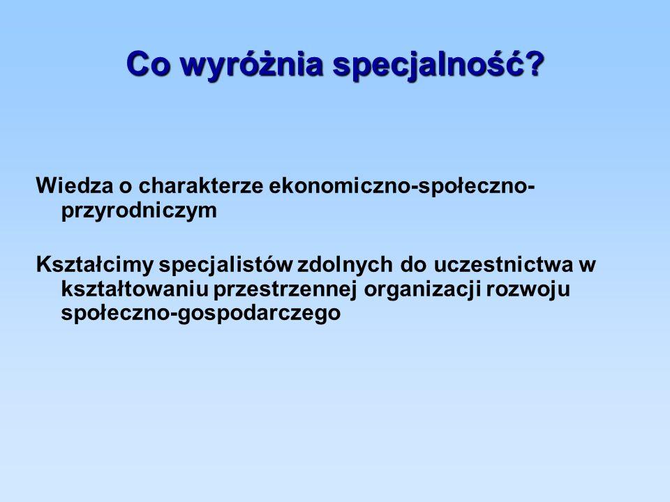 Co wyróżnia specjalność? Wiedza o charakterze ekonomiczno-społeczno- przyrodniczym Kształcimy specjalistów zdolnych do uczestnictwa w kształtowaniu pr