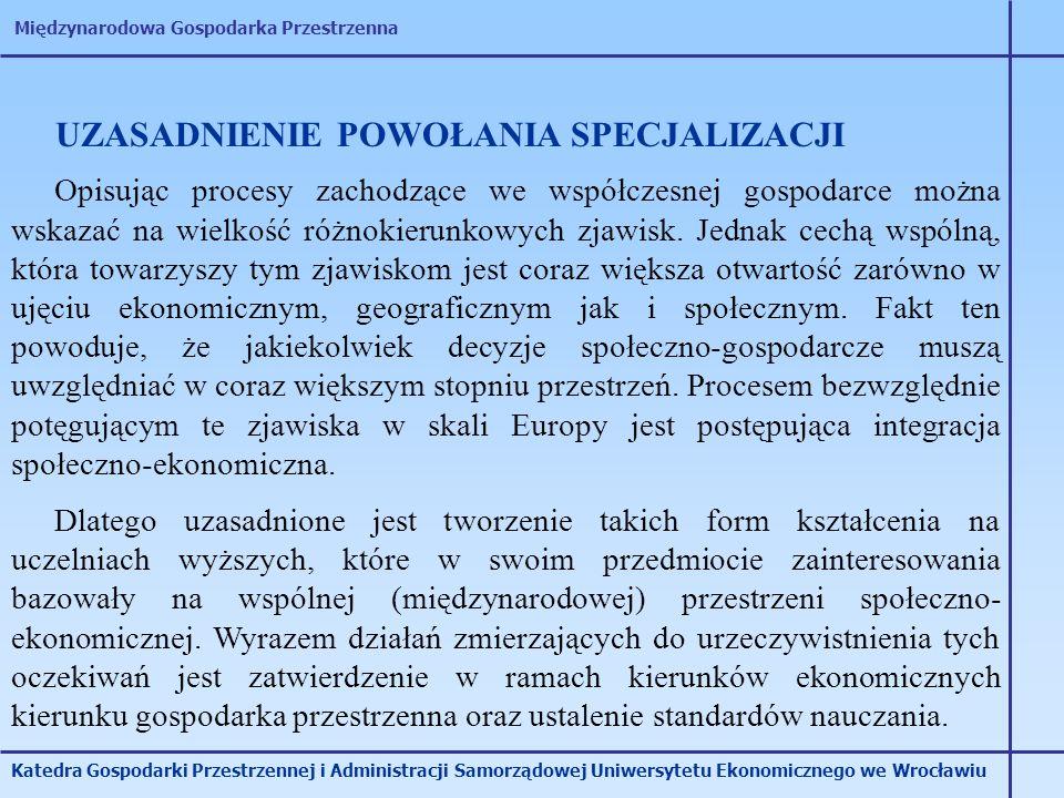 Międzynarodowa Gospodarka Przestrzenna Katedra Gospodarki Przestrzennej i Administracji Samorządowej Uniwersytetu Ekonomicznego we Wrocławiu UZASADNIE