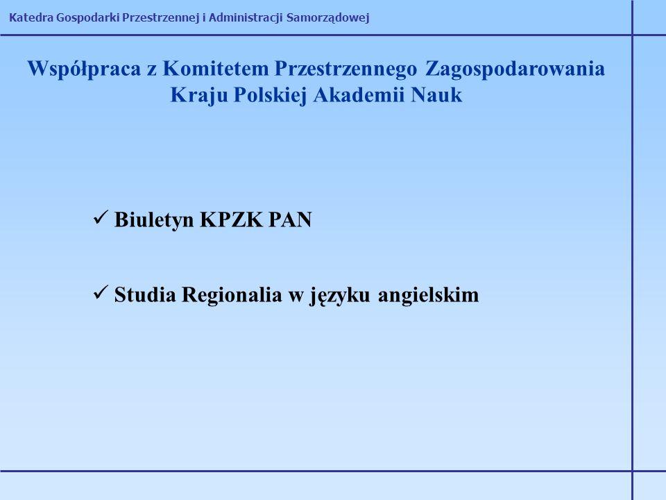 Katedra Gospodarki Przestrzennej i Administracji Samorządowej Współpraca z Komitetem Przestrzennego Zagospodarowania Kraju Polskiej Akademii Nauk Biul