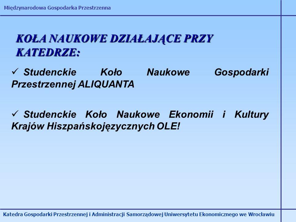 Międzynarodowa Gospodarka Przestrzenna Katedra Gospodarki Przestrzennej i Administracji Samorządowej Uniwersytetu Ekonomicznego we Wrocławiu KOŁA NAUK