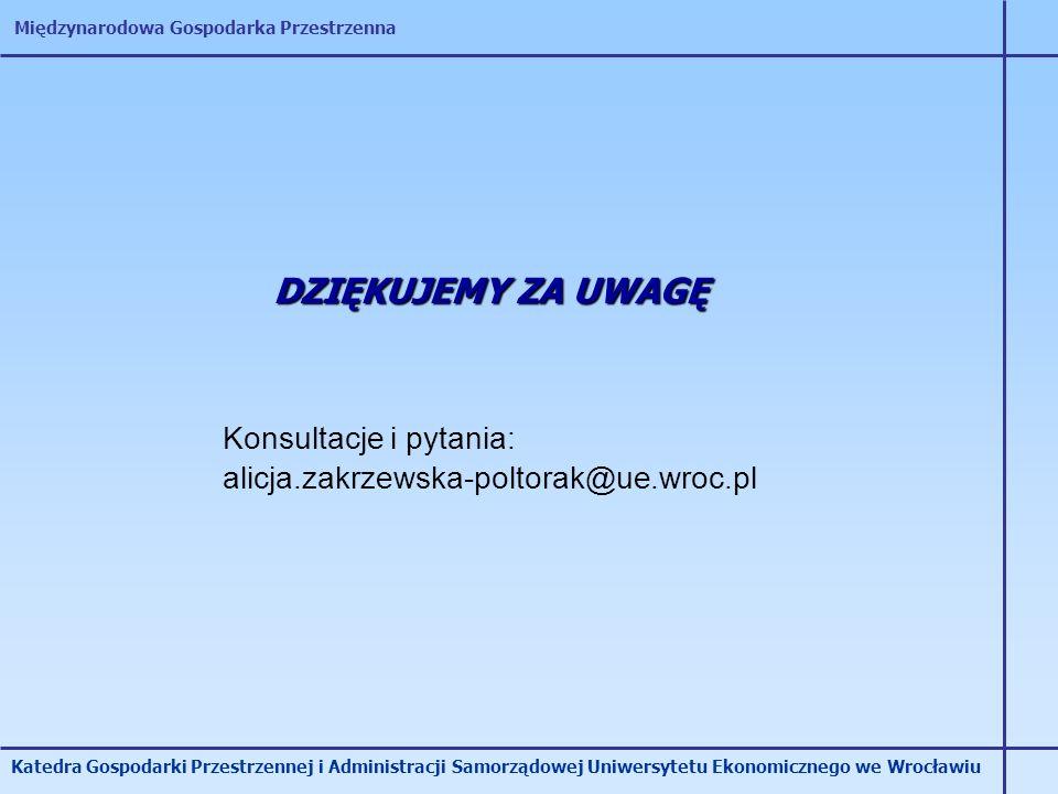 Międzynarodowa Gospodarka Przestrzenna Katedra Gospodarki Przestrzennej i Administracji Samorządowej Uniwersytetu Ekonomicznego we Wrocławiu DZIĘKUJEM
