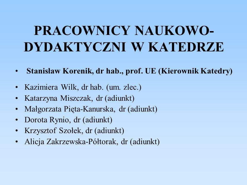 PRACOWNICY NAUKOWO- DYDAKTYCZNI W KATEDRZE Stanisław Korenik, dr hab., prof. UE (Kierownik Katedry) Kazimiera Wilk, dr hab. (um. zlec.) Katarzyna Misz