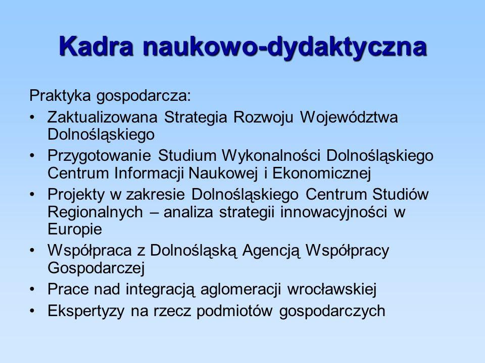 Kadra naukowo-dydaktyczna Praktyka gospodarcza: Zaktualizowana Strategia Rozwoju Województwa Dolnośląskiego Przygotowanie Studium Wykonalności Dolnośl
