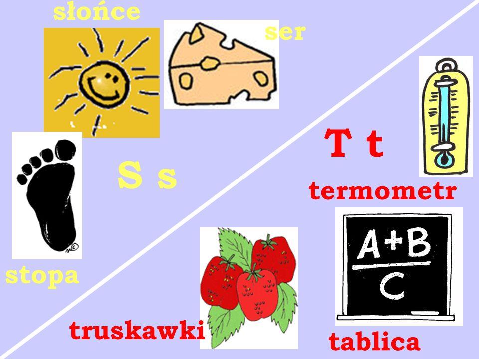 stopa słońce ser S s truskawki termometr tablica T t