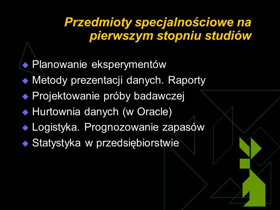 Przedmioty specjalnościowe na pierwszym stopniu studiów Planowanie eksperymentów Metody prezentacji danych.
