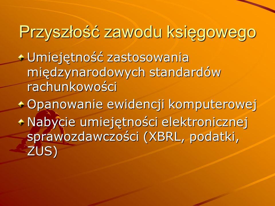 Przyszłość zawodu księgowego Umiejętność zastosowania międzynarodowych standardów rachunkowości Opanowanie ewidencji komputerowej Nabycie umiejętności