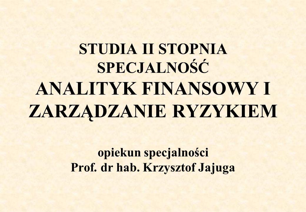 STUDIA II STOPNIA SPECJALNOŚĆ ANALITYK FINANSOWY I ZARZĄDZANIE RYZYKIEM opiekun specjalności Prof. dr hab. Krzysztof Jajuga