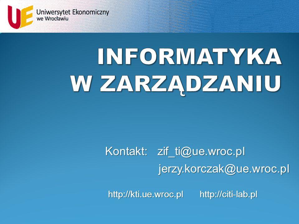 jerzy.korczak@ue.wroc.pl Kontakt: zif_ti@ue.wroc.pl http://kti.ue.wroc.pl http://citi-lab.pl