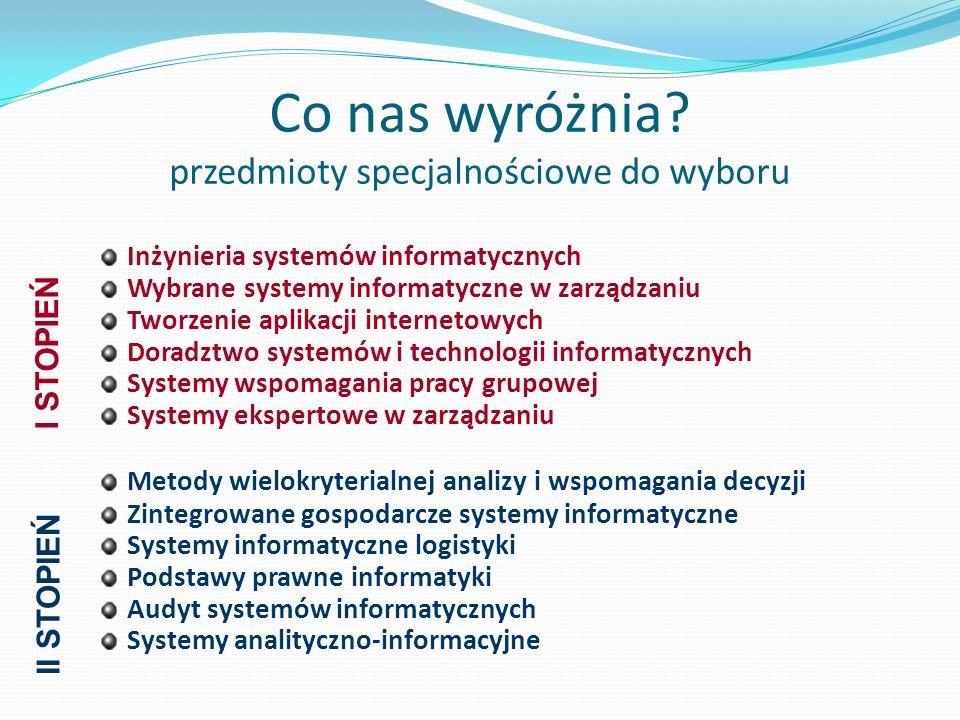 Co nas wyróżnia? przedmioty specjalnościowe do wyboru Inżynieria systemów informatycznych Wybrane systemy informatyczne w zarządzaniu Tworzenie aplika