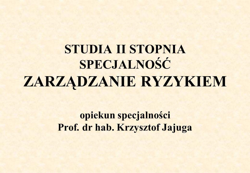 STUDIA II STOPNIA SPECJALNOŚĆ ZARZĄDZANIE RYZYKIEM opiekun specjalności Prof. dr hab. Krzysztof Jajuga