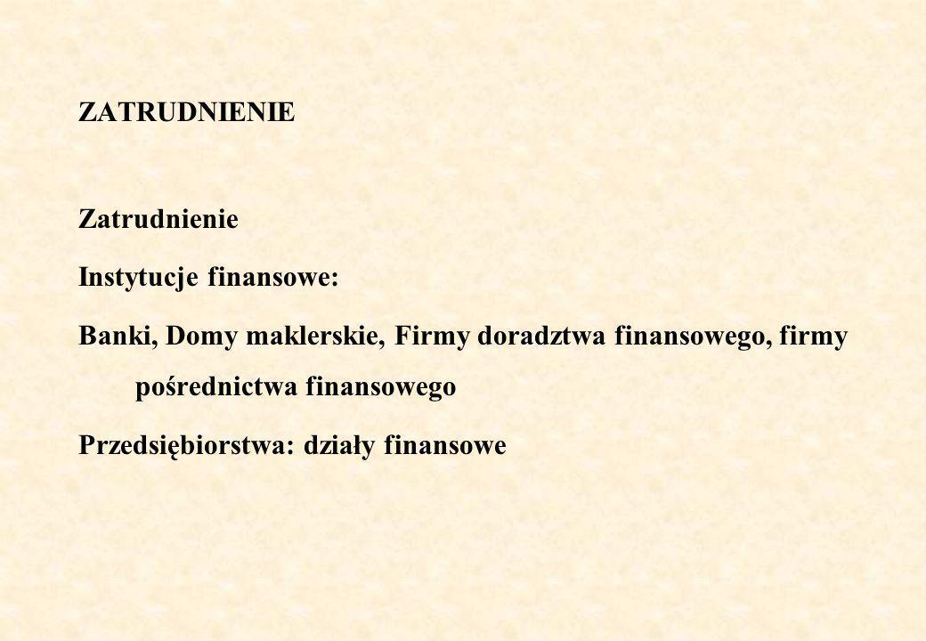 ZATRUDNIENIE Zatrudnienie Instytucje finansowe: Banki, Domy maklerskie, Firmy doradztwa finansowego, firmy pośrednictwa finansowego Przedsiębiorstwa: działy finansowe