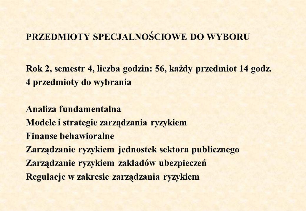 PRZEDMIOTY SPECJALNOŚCIOWE DO WYBORU Rok 2, semestr 4, liczba godzin: 56, każdy przedmiot 14 godz.