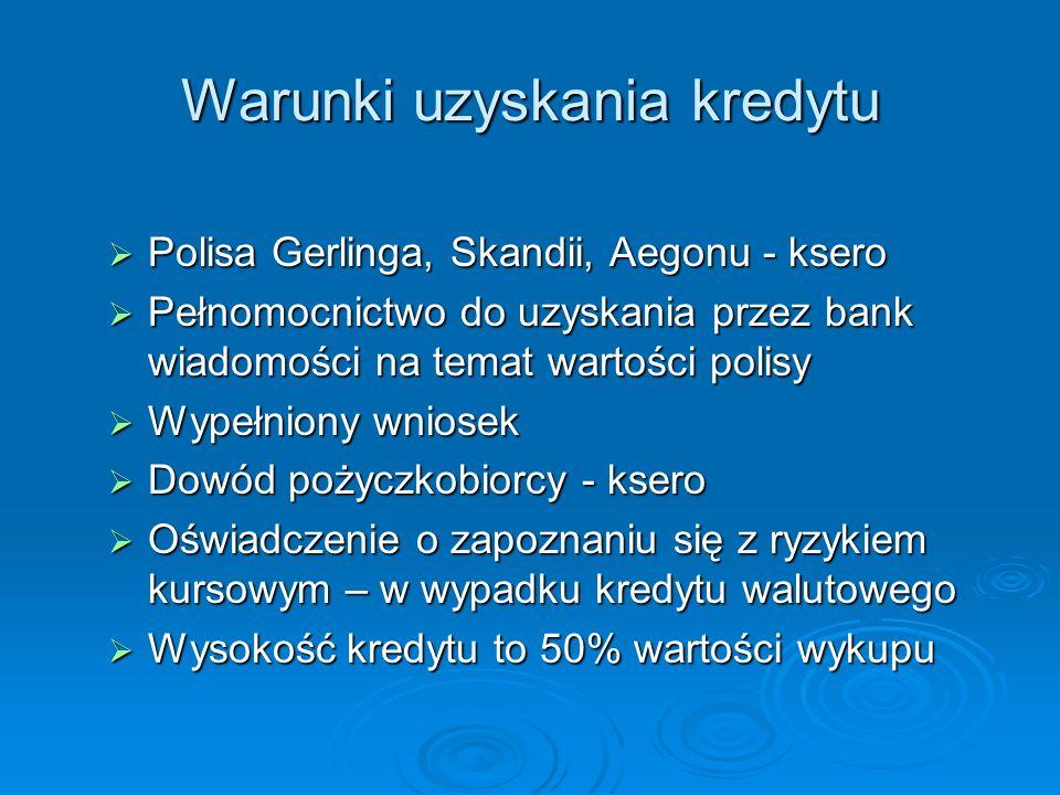 Warunki uzyskania kredytu Polisa Gerlinga, Skandii, Aegonu - ksero Polisa Gerlinga, Skandii, Aegonu - ksero Pełnomocnictwo do uzyskania przez bank wia