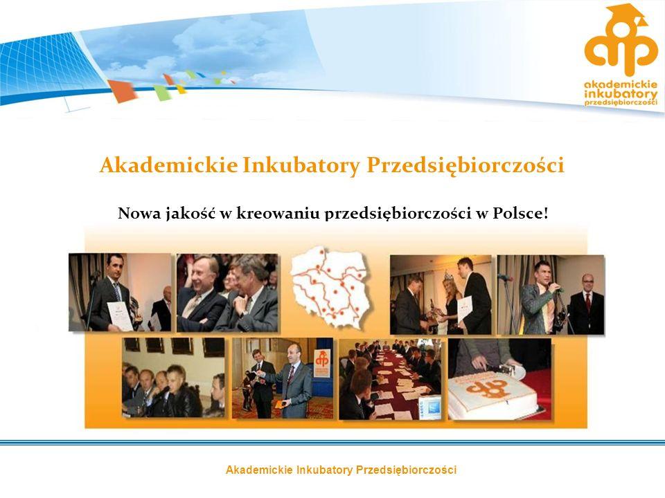 Akademickie Inkubatory Przedsiębiorczości Nowa jakość w kreowaniu przedsiębiorczości w Polsce!