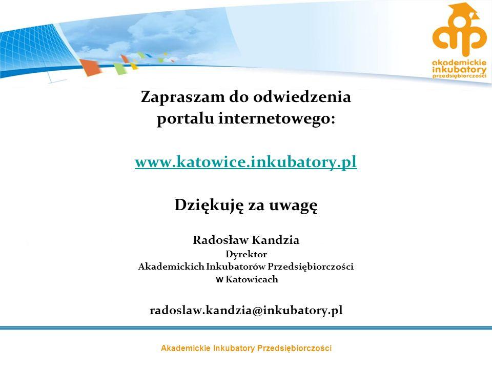 Akademickie Inkubatory Przedsiębiorczości Zapraszam do odwiedzenia portalu internetowego: www.katowice.inkubatory.pl Dziękuję za uwagę Radosław Kandzi