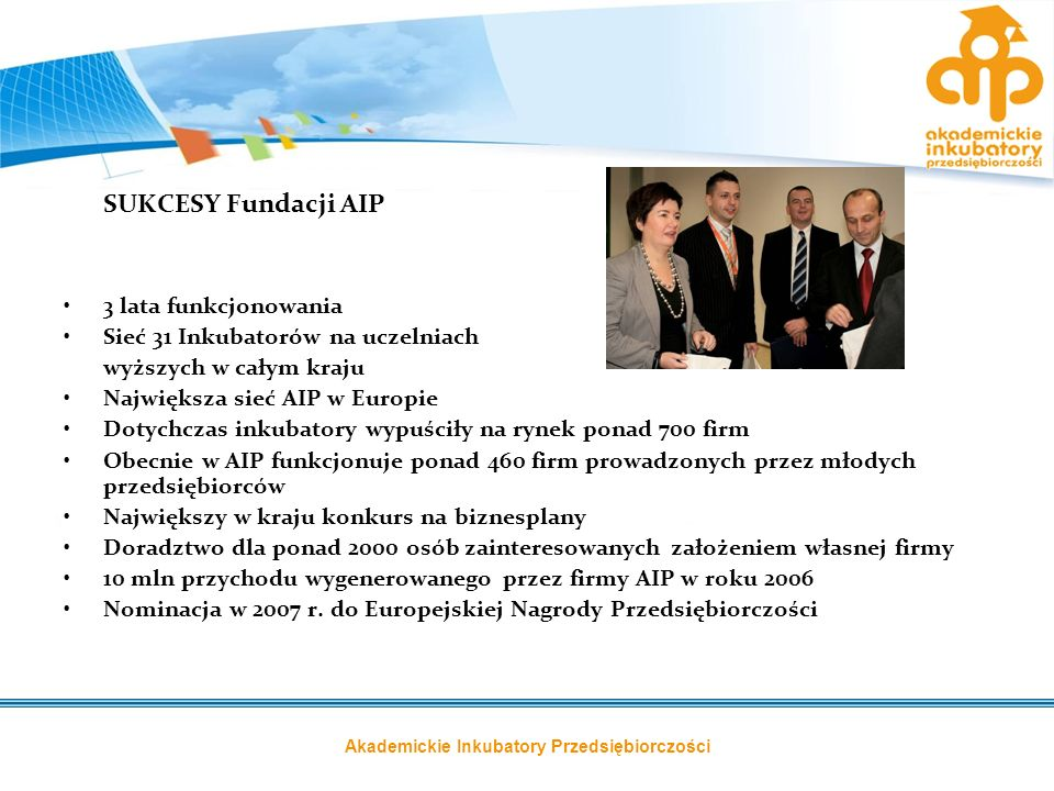 Akademickie Inkubatory Przedsiębiorczości SUKCESY Fundacji AIP 3 lata funkcjonowania Sieć 31 Inkubatorów na uczelniach wyższych w całym kraju Najwięks