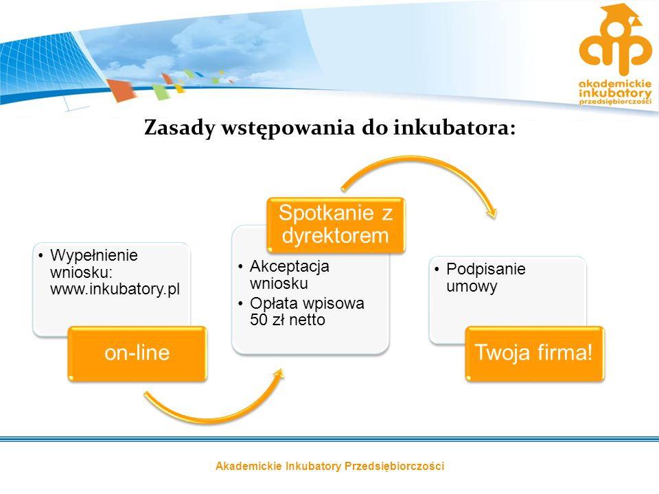 Akademickie Inkubatory Przedsiębiorczości Zasady wstępowania do inkubatora: Wypełnienie wniosku: www.inkubatory.pl on-line Akceptacja wniosku Opłata w