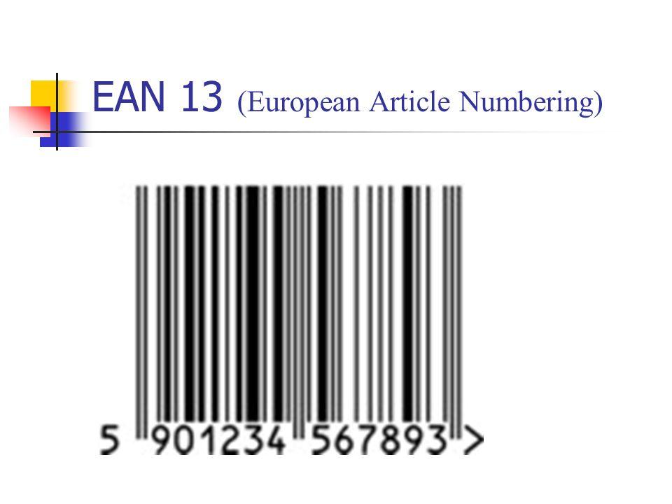 Kody numeryczny EAN 13 Miejsca cyfr 13121110987654321 Struktura numeru Numer kraju - prefiks Numer jednostki kodującej Numer indywidualny towaru Cyfra kontroln a EAN-13590J1J2J3J4T1T2T3T4T5K