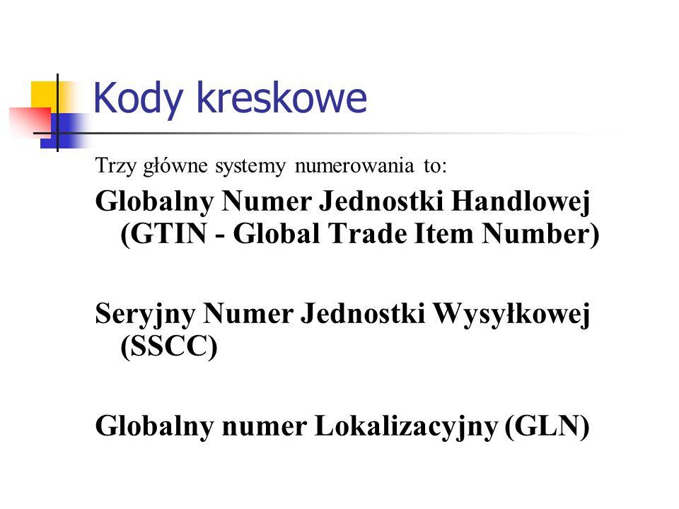 Kody kreskowe Trzy główne systemy numerowania to: Globalny Numer Jednostki Handlowej (GTIN - Global Trade Item Number) Seryjny Numer Jednostki Wysyłko