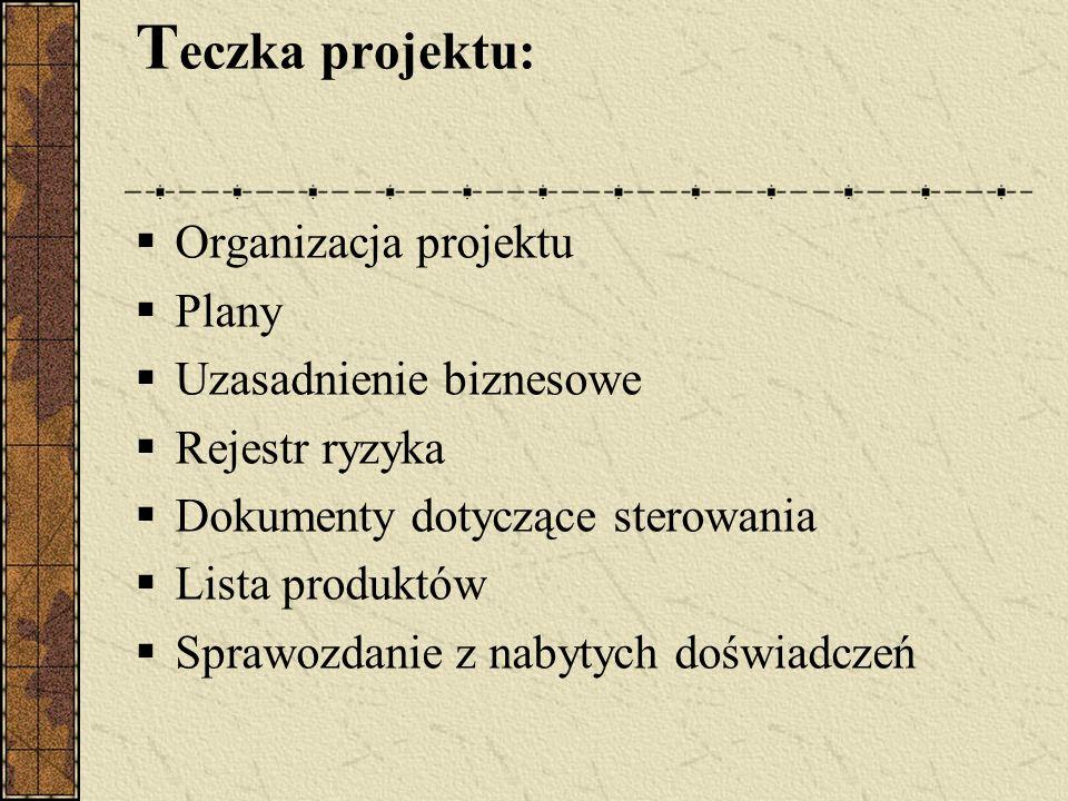 T eczka projektu: Organizacja projektu Plany Uzasadnienie biznesowe Rejestr ryzyka Dokumenty dotyczące sterowania Lista produktów Sprawozdanie z nabyt