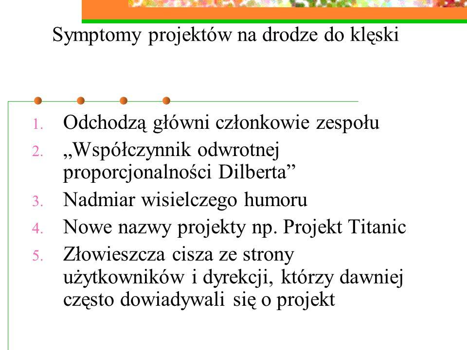 Symptomy projektów na drodze do klęski 1. Odchodzą główni członkowie zespołu 2. Współczynnik odwrotnej proporcjonalności Dilberta 3. Nadmiar wisielcze