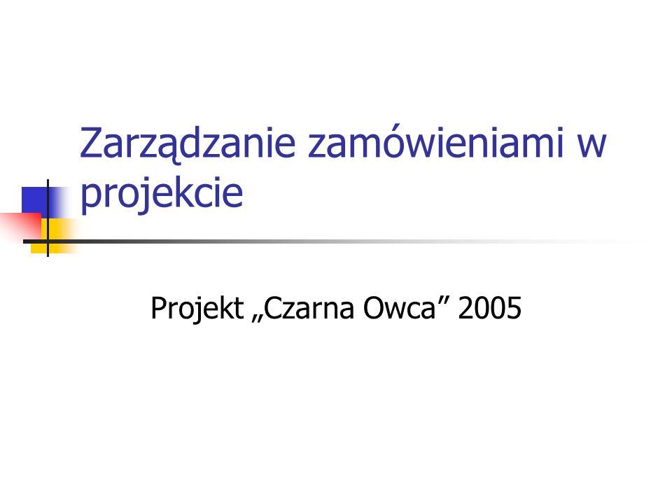 Zarządzanie zamówieniami w projekcie Projekt Czarna Owca 2005