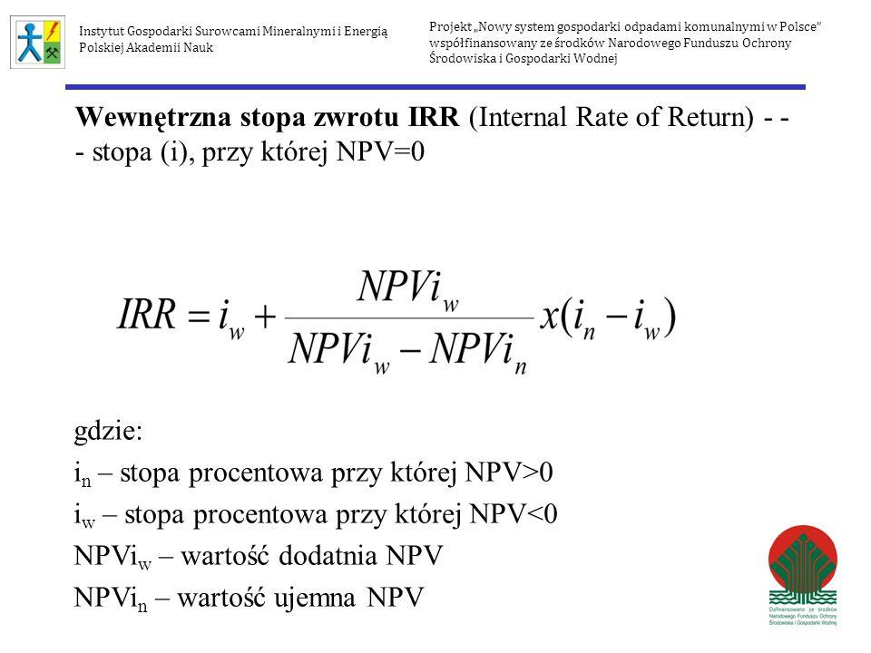 Wewnętrzna stopa zwrotu IRR (Internal Rate of Return) - - - stopa (i), przy której NPV=0 gdzie: i n – stopa procentowa przy której NPV>0 i w – stopa p