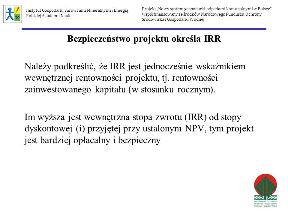 Bezpieczeństwo projektu określa IRR Należy podkreślić, że IRR jest jednocześnie wskaźnikiem wewnętrznej rentowności projektu, tj. rentowności zainwest