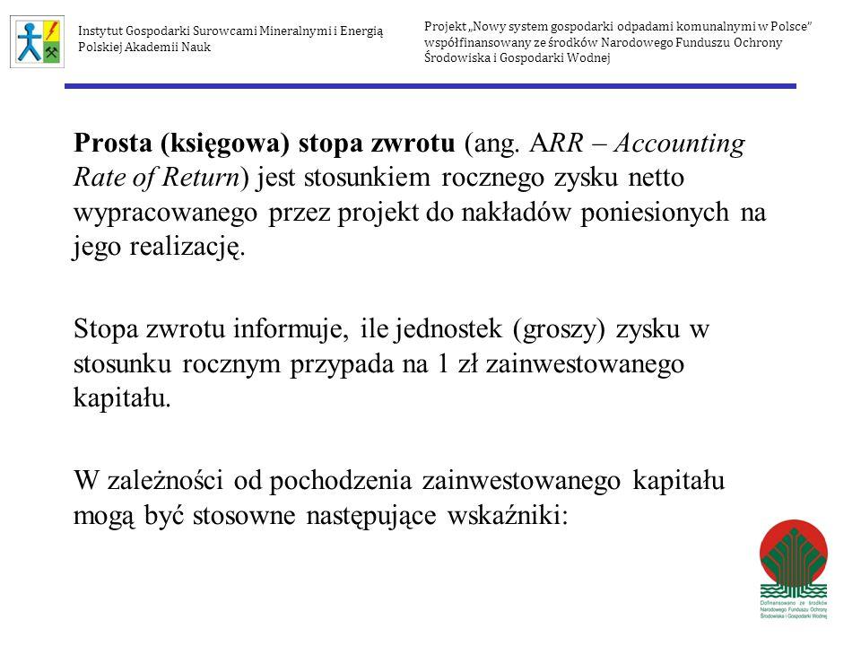 Wewnętrzna stopa zwrotu IRR wynosi więc IRR = 15,24% IRR = 15,67% IRR uwzględnia wartość rezydualną Projekt Nowy system gospodarki odpadami komunalnymi w Polsce współfinansowany ze środków Narodowego Funduszu Ochrony Środowiska i Gospodarki Wodnej Instytut Gospodarki Surowcami Mineralnymi i Energią Polskiej Akademii Nauk