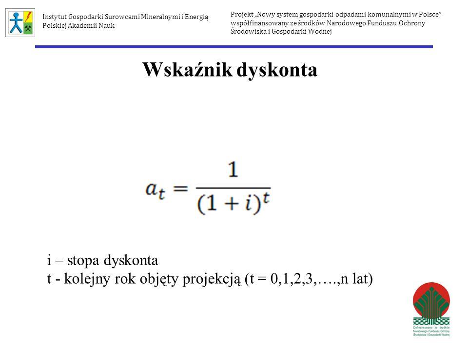 Wskaźnik dyskonta i – stopa dyskonta t - kolejny rok objęty projekcją (t = 0,1,2,3,….,n lat) Projekt Nowy system gospodarki odpadami komunalnymi w Pol