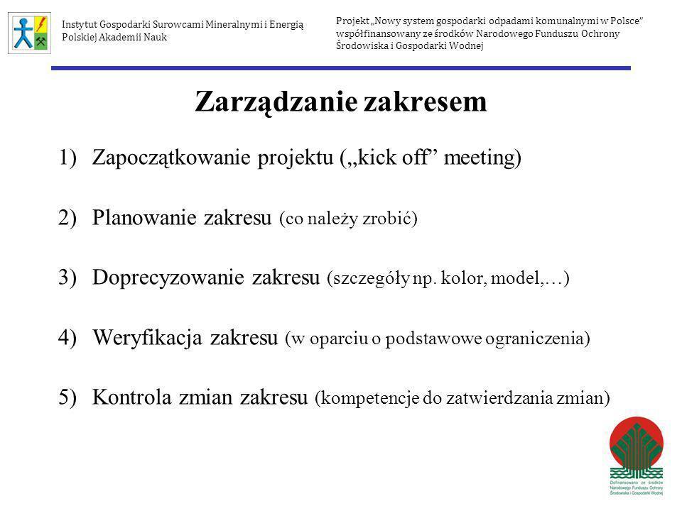 Zarządzanie zakresem 1)Zapoczątkowanie projektu (kick off meeting) 2)Planowanie zakresu (co należy zrobić) 3)Doprecyzowanie zakresu (szczegóły np. kol