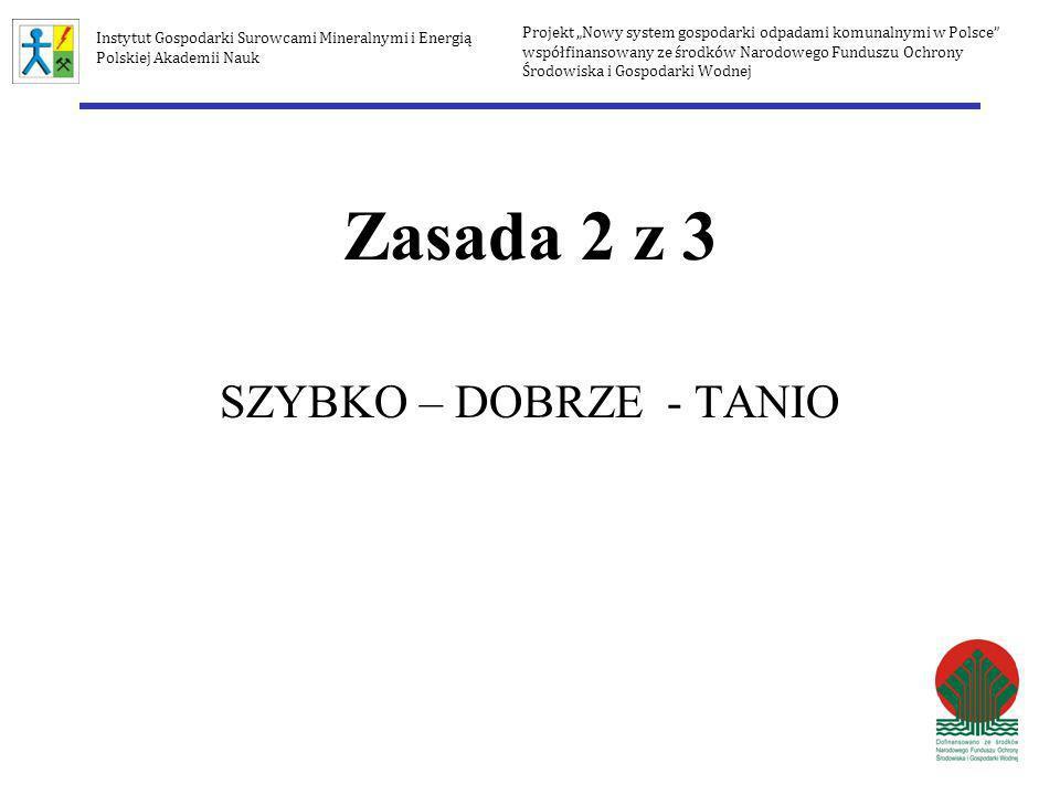Zasada 2 z 3 SZYBKO – DOBRZE - TANIO Projekt Nowy system gospodarki odpadami komunalnymi w Polsce współfinansowany ze środków Narodowego Funduszu Ochr