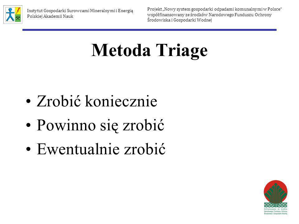Metoda Triage Zrobić koniecznie Powinno się zrobić Ewentualnie zrobić Projekt Nowy system gospodarki odpadami komunalnymi w Polsce współfinansowany ze