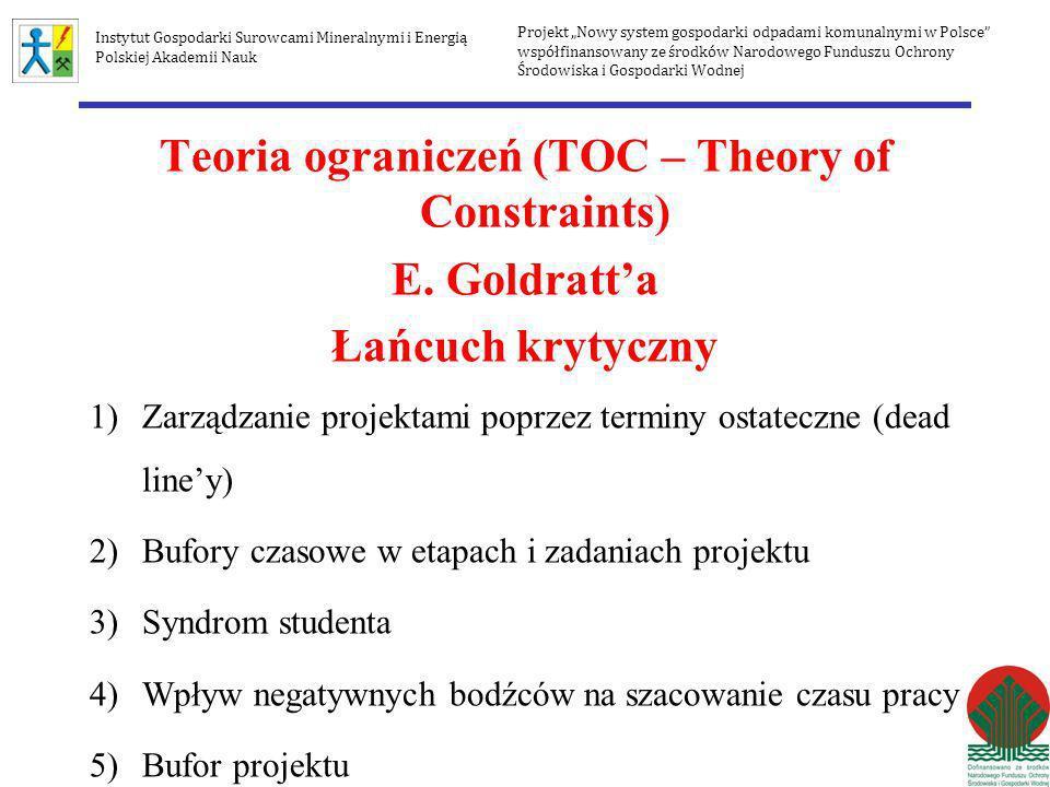 Teoria ograniczeń (TOC – Theory of Constraints) E. Goldratta Łańcuch krytyczny 1)Zarządzanie projektami poprzez terminy ostateczne (dead liney) 2)Bufo