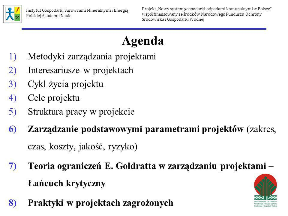 Agenda 1)Metodyki zarządzania projektami 2)Interesariusze w projektach 3)Cykl życia projektu 4)Cele projektu 5)Struktura pracy w projekcie 6)Zarządzan