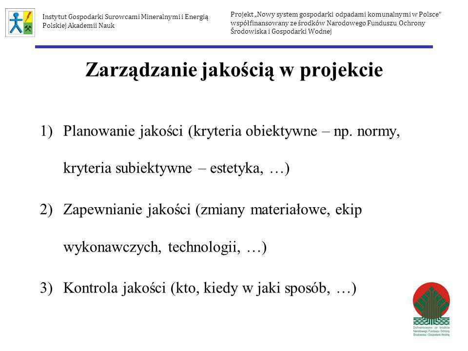 Zarządzanie jakością w projekcie 1)Planowanie jakości (kryteria obiektywne – np. normy, kryteria subiektywne – estetyka, …) 2)Zapewnianie jakości (zmi