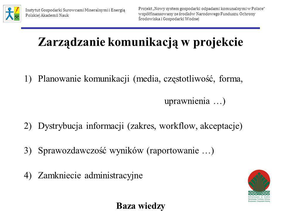 Zarządzanie komunikacją w projekcie 1)Planowanie komunikacji (media, częstotliwość, forma, uprawnienia …) 2)Dystrybucja informacji (zakres, workflow,